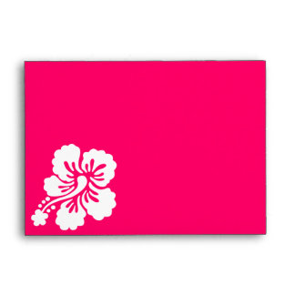Bright Pink and White Hibiscus Envelope
