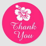 Bright Pink and White Hibiscus Thank You Classic Round Sticker