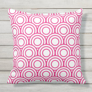 Bright pink and White Japanese Geometric Circle Throw Pillow