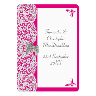 Bright pink and white lace wedding thank you tag large business cards (Pack of 100)