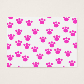 Bright Pink and White Paw Print Pattern. Business Card