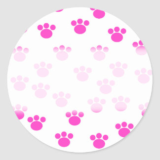 Bright Pink and White Paw Print Pattern. Classic Round Sticker