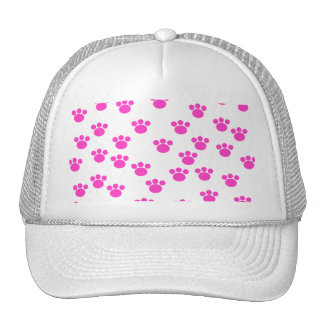 Bright Pink and White Paw Print Pattern. Hats