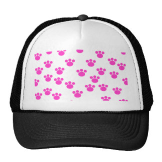 Bright Pink and White Paw Print Pattern. Hat