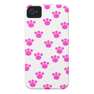 Bright Pink and White Paw Print Pattern. iPhone 4 Cover