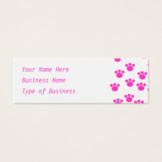 Bright Pink and White Paw Print Pattern. Mini Business Card
