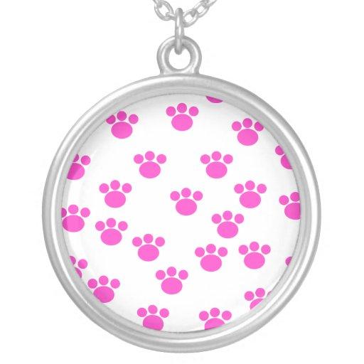Bright Pink and White Paw Print Pattern. Custom Jewelry