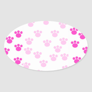 Bright Pink and White Paw Print Pattern. Oval Sticker