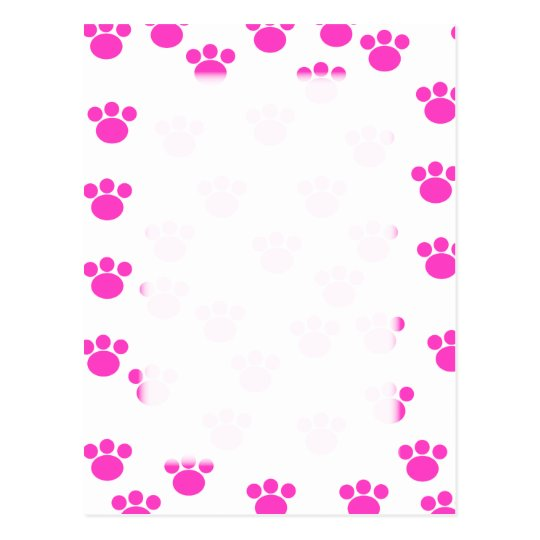 Bright Pink and White Paw Print Pattern. Postcard