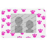 Bright Pink and White Paw Print Pattern. Vinyl Magnets