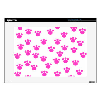 Bright Pink and White Paw Print Pattern Skins For Laptops