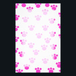 """Bright Pink and White Paw Print Pattern. Stationery<br><div class=""""desc"""">Bright Pink paw print pattern on a white background.</div>"""