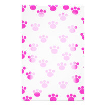 Bright Pink and White Paw Print Pattern. Stationery
