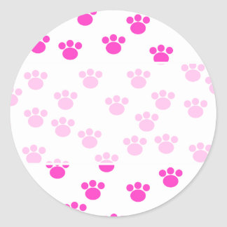 Bright Pink and White Paw Print Pattern. Sticker