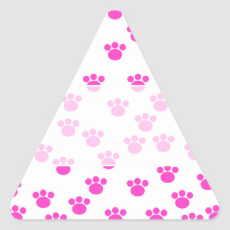 Bright Pink and White Paw Print Pattern. Triangle Sticker