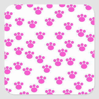 Bright Pink and White Paw Print Pattern. Square Sticker