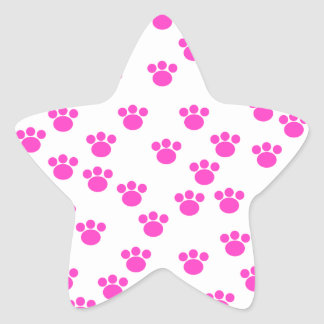 Bright Pink and White Paw Print Pattern. Star Sticker
