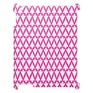 Bright Pink and White ZigZag Pattern Cover For The iPad