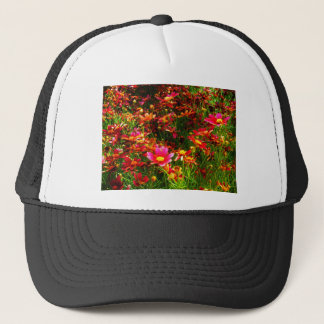 Bright pink and yellow Daisy Wild flowers Trucker Hat