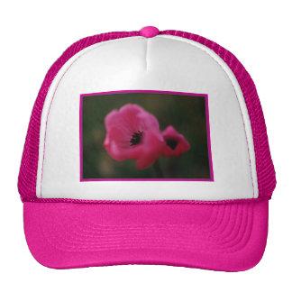 Bright pink anemones trucker hat