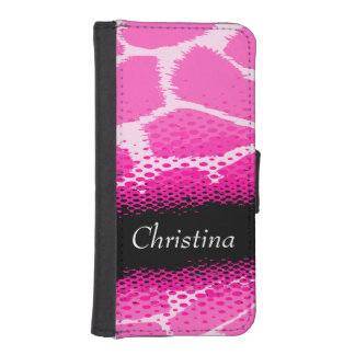 Bright pink animal print named girls flap case iPhone 5 wallet case