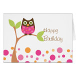 Bright Pink Baby Owl Greeting Cards