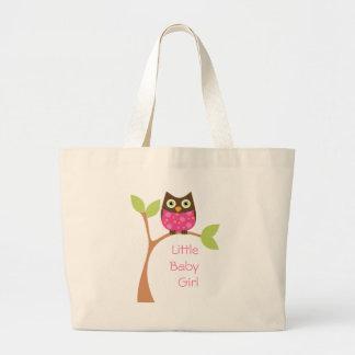 Bright Pink Baby Owl Jumbo Tote Bag