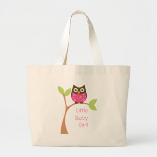 Bright Pink Baby Owl Large Tote Bag