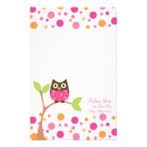 Bright Pink Baby Owl Stationery