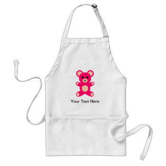 Bright Pink Baby Teddy Bear Adult Apron