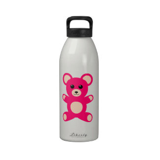 Bright Pink Baby Teddy Bear Reusable Water Bottle