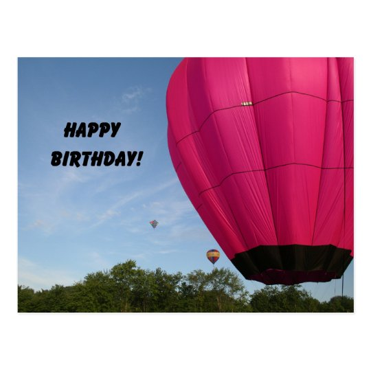 Bright pink balloon, Happy Birthday! Postcard