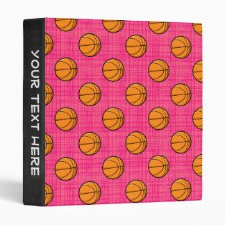 Bright Pink Basketball Pattern 3 Ring Binders