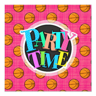 Bright Pink Basketball Pattern Card