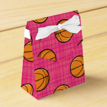 Bright Pink Basketball Pattern Favor Box