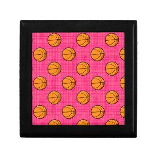 Bright Pink Basketball Pattern Jewelry Box