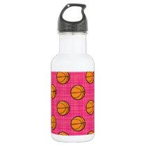 Bright Pink Basketball Pattern Water Bottle