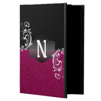 Bright Pink Black Faux Glitter Custom Monogram Powis iPad Air 2 Case