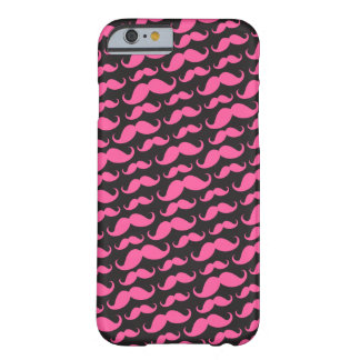 Bright pink black trendy funny mustache pattern iPhone 6 case
