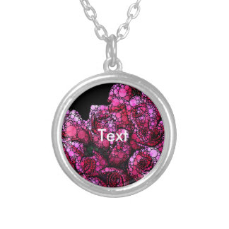 Bright Pink Bling Roses Round Pendant Necklace