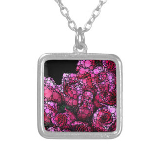 Bright Pink Bling Roses Silver Plated Necklace