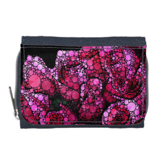 Bright Pink Bling Roses Wallet