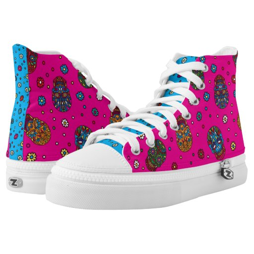 Bright pink blue mexican floral skull pattern printed shoes