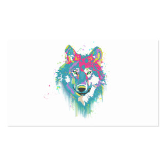 Bright Pink Blue Neon Watercolors Splatters Wolf Double-Sided Standard Business Cards (Pack Of 100)