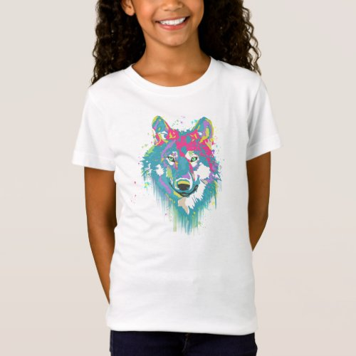 Bright Pink Blue Neon Watercolors Splatters Wolf T_Shirt
