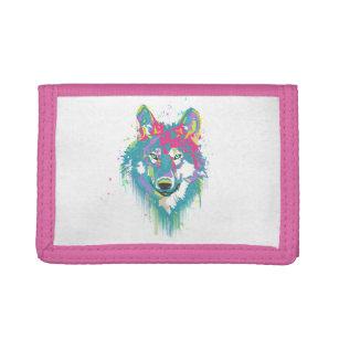Bright Pink Blue Neon Watercolors Splatters Wolf Tri-fold Wallet
