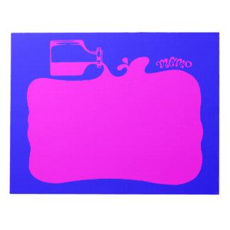 Bright Pink & Blue Spilled Bottle of Ink, Neon Notepad