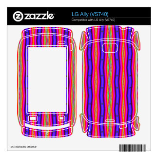 Bright pink blue stripes abstract decals for the LG ally