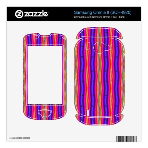 Bright pink blue stripes abstract skin for samsung omnia II