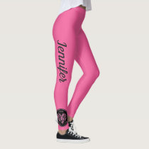 BRIGHT Pink Breast Cancer Support Leggings NAME